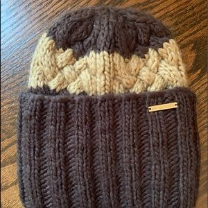 MICHAEL KORS HAT CABLE KNIT BEANIE BROWN TAN